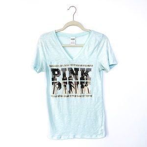 Victoria Secret Pink Palm Tree Sequin V Neck Shirt